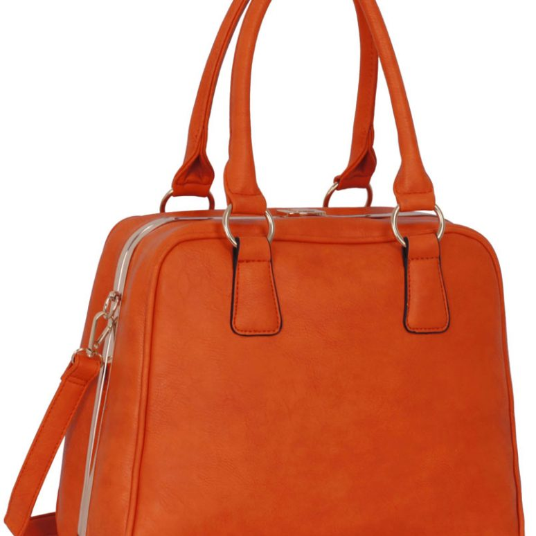 LS00299 - Metal Frame Orange Tote Bag