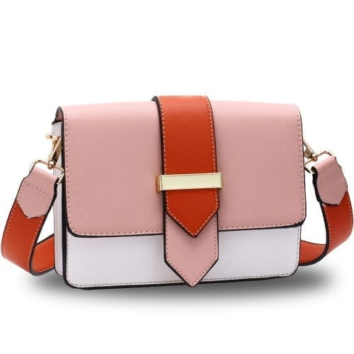 AG00692 - Pink / White / Orange Flap Cross Body Shoulder Bag