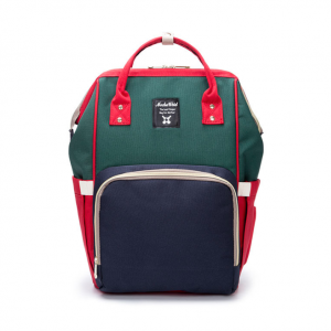 Red/Navy/Green Moms Backpack - Multi Purpose - Canvas Material