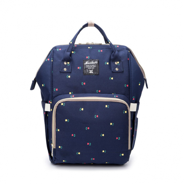 Navy Flower Moms Backpack - Multi Purpose - Canvas Material