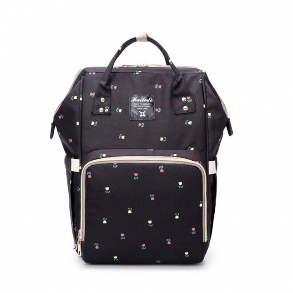 Black Flower Moms Backpack - Multi Purpose - Canvas Material