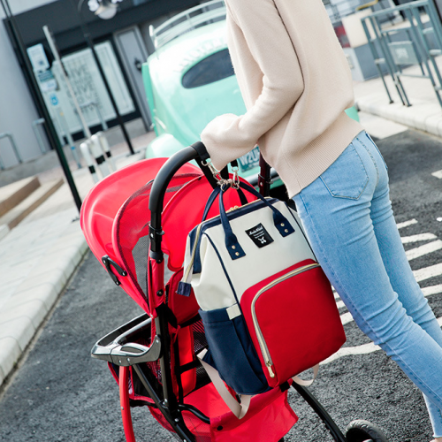 Red/White/navy Moms Backpack - Multi Purpose - Canvas Material