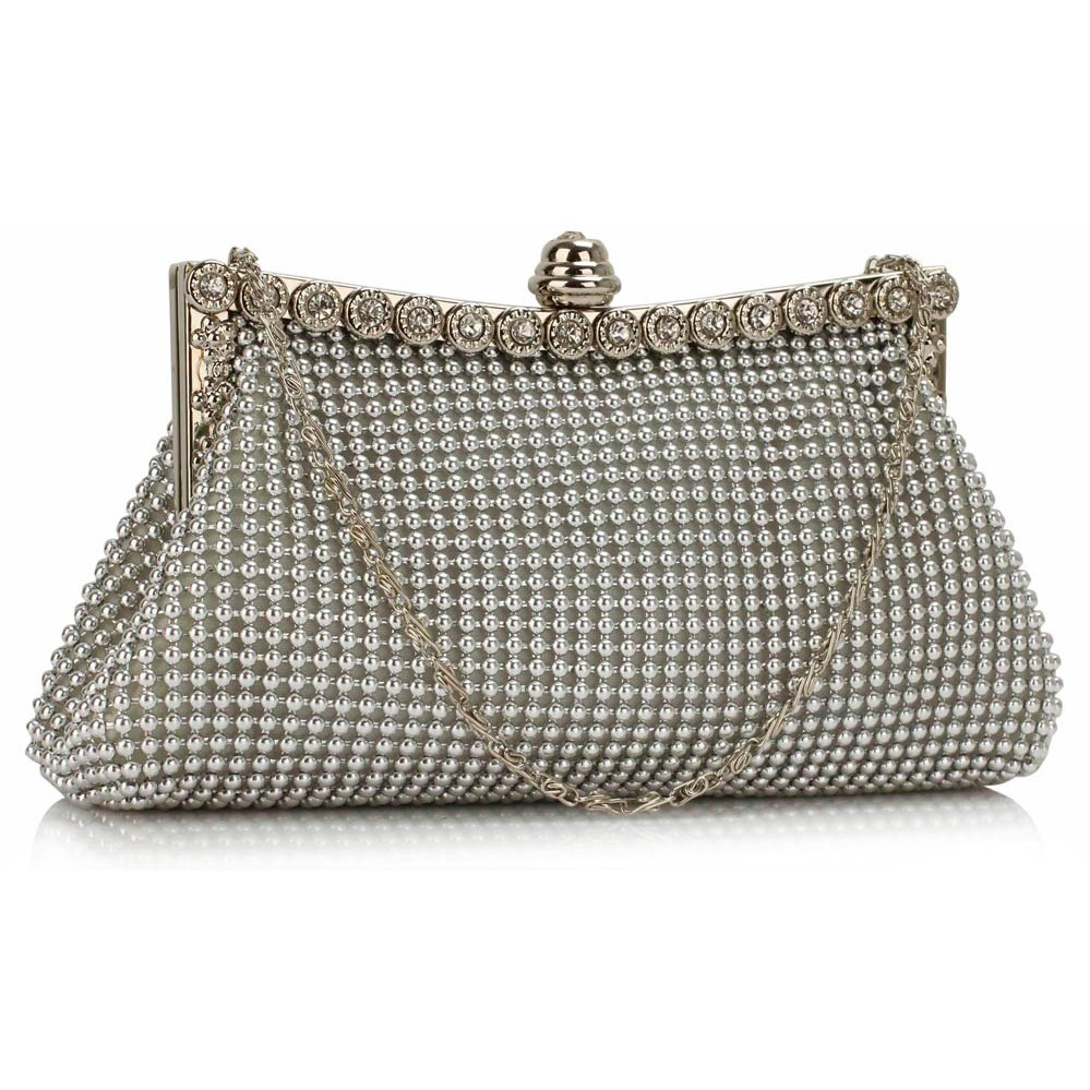 cc7e149b5ea LSE00139 Silver Sparkly Crystal Satin Clutch purse – Silk Avenue ...