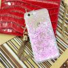 Quicksand Glitter & Hearts iPhone Cover - Soft TPU - Transparent with Pink Glitter