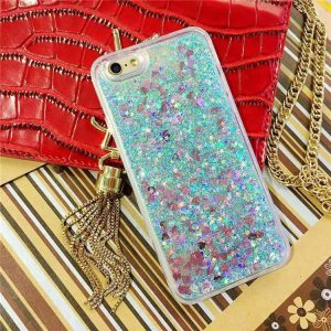 Quicksand Glitter & Hearts iPhone Cover - Soft TPU - Transparent with Blue Glitter