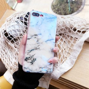 Marble Textured iPhone Case - Soft TPU - Shiny Finish