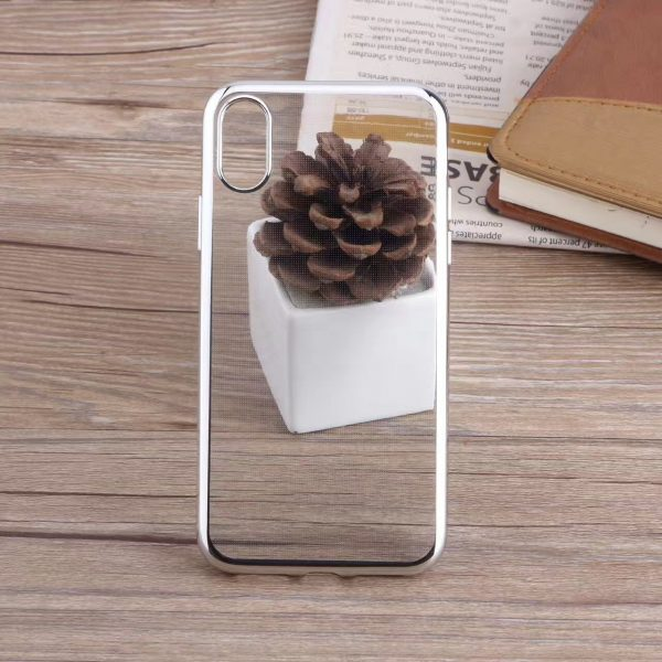 Silver Glossy iPhone Transparent Case - Plated Sides - Sof TPU