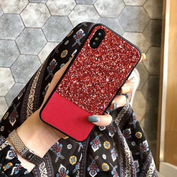 Red Rhinestone Fashion Cover for iPhone - TPU + PC Hard/Soft Combo