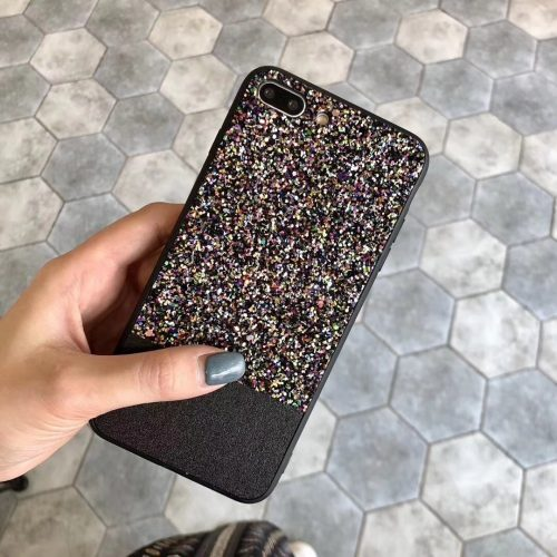 Black Rhinestone Fashion Cover for iPhone - TPU + PC Hard/Soft Combo