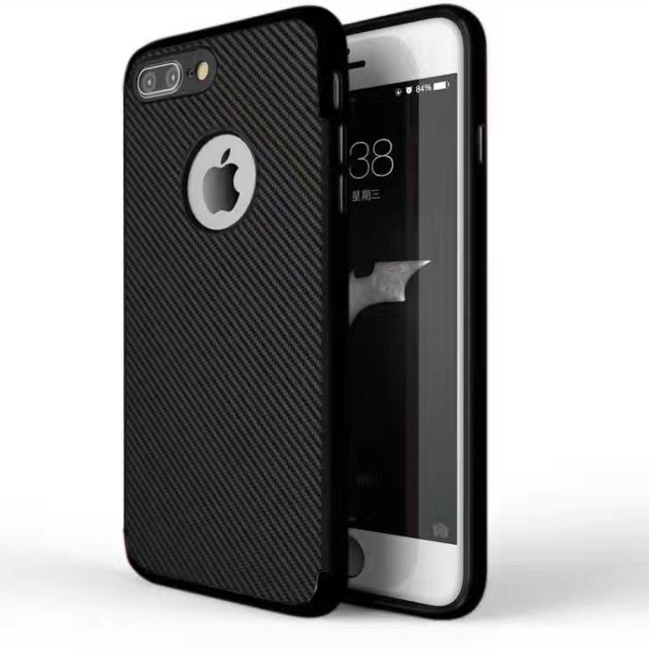 Black Matte Back Cover for iPhone - Soft TPU - With Apple Logo Hole