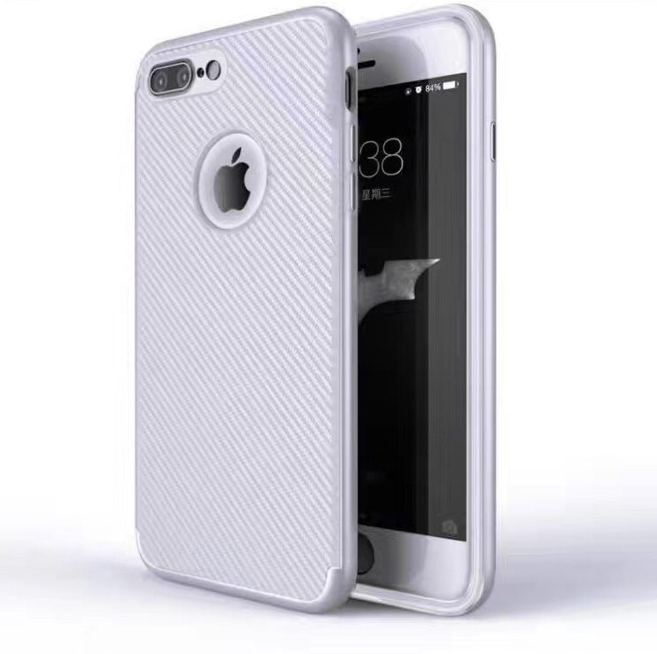 Silver Matte Back Cover for iPhone - Soft TPU - With Apple Logo Hole