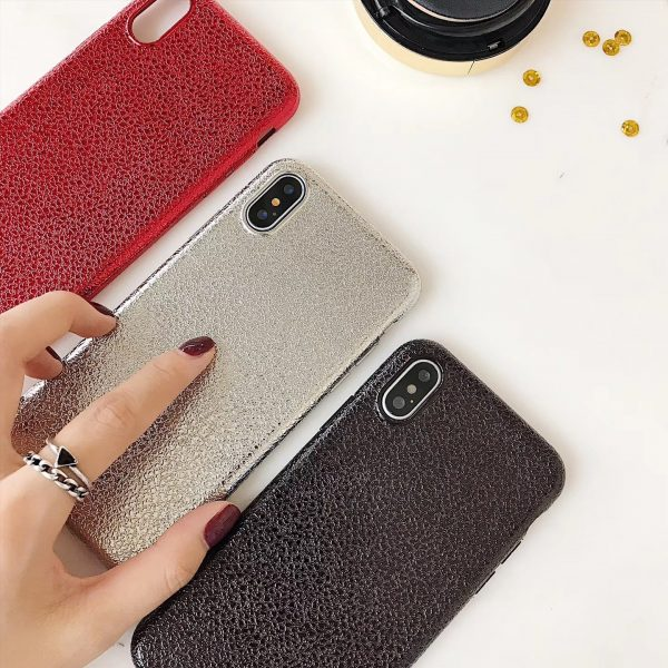 Black Shiny Leather Textured Fashion iPhone Case - Soft TPU