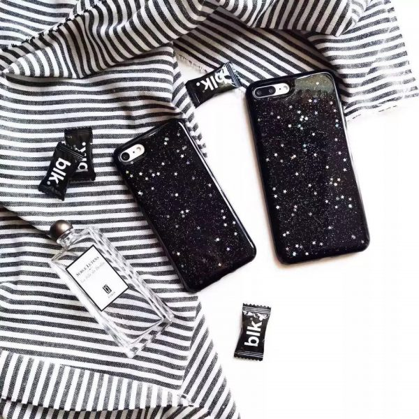 Gloss Finish Black Case for iPhone - Soft TPU - Star Detailing