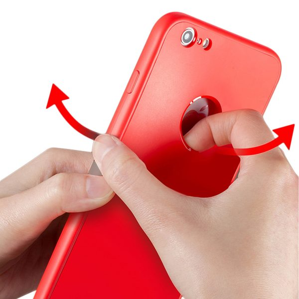 Red 360 Protection Cover for iPhone - Soft TPU - Front and Back Cover