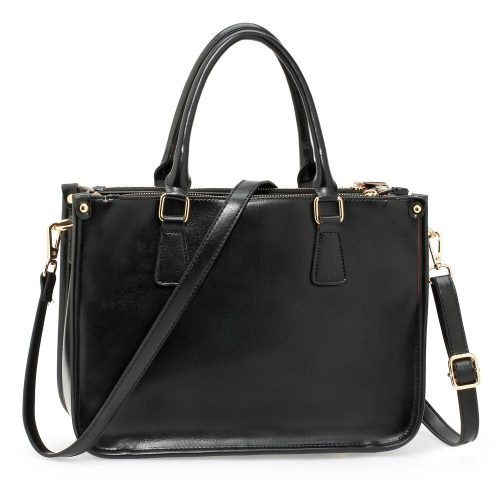 AG00184NEW - 3 top Zip Black Tote Handbag
