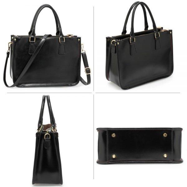 AG00184NEW - 3 top Zip Black Tote Handbag