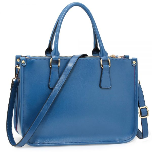 AG00184NEW - 3 top Zip Blue Tote Handbag