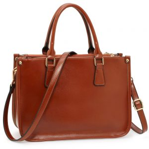 AG00184NEW - 3 top Zip Brown Tote Handbag