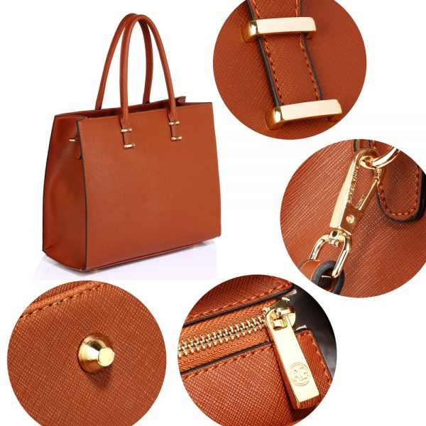 AG00319 - Brown Fashion Tote Handbag