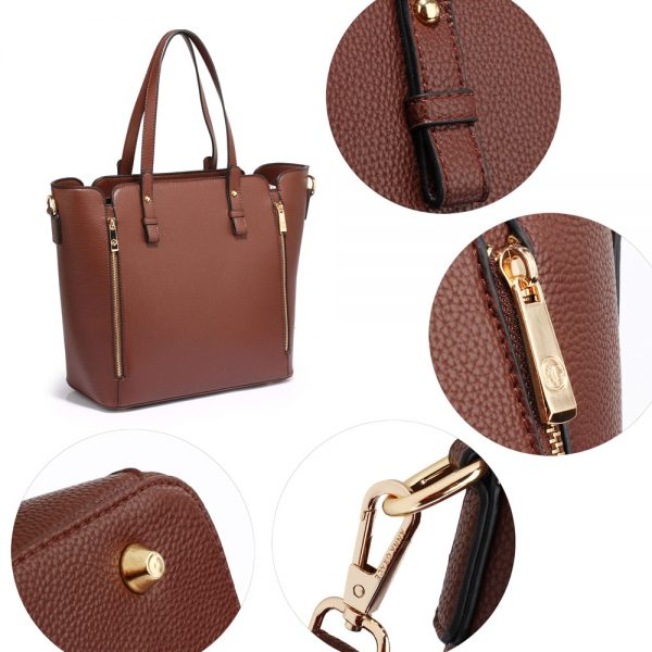 AG00502 - Coffee Zipper Shoulder Bag