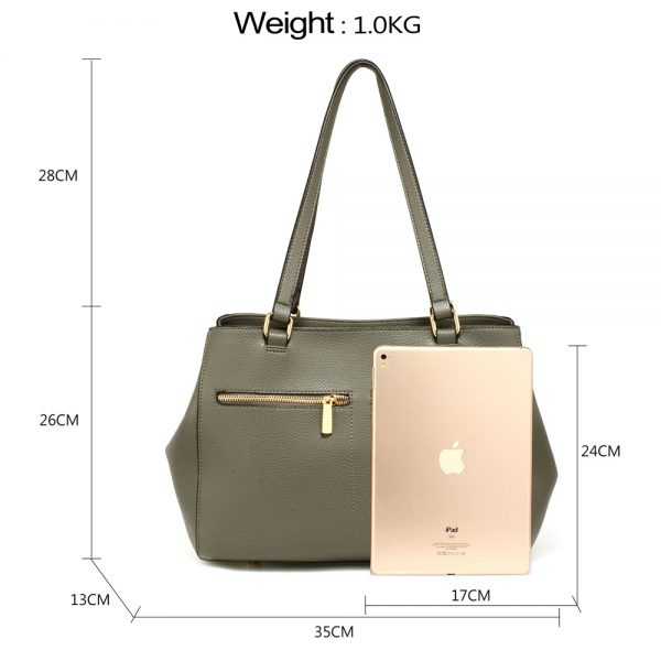 AG00526 - Grey Women's Front Pockets Tote Bag