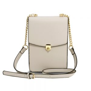 AG00586 - Beige Flap Twist Lock Cross Body Bag
