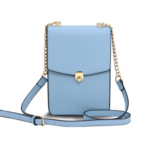AG00586 - Blue Flap Twist Lock Cross Body Bag