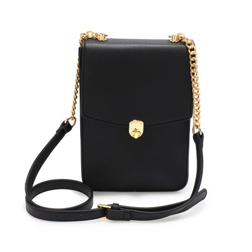 AG00586 - Black Flap Twist Lock Cross Body Bag