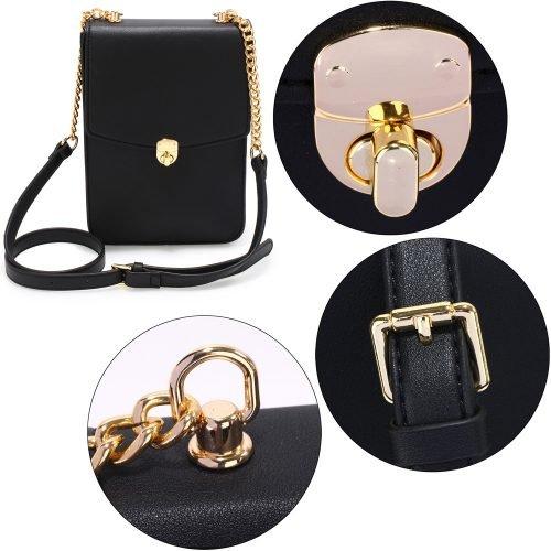 AG00586 - Black Flap Twist Lock Cross Body Bag