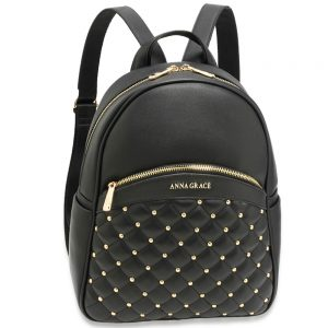 AG00590 - Black Quilt & Stud Backpack School Bag