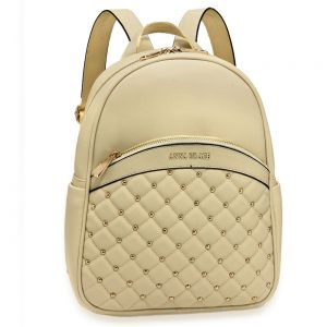 AG00590 - Ivory Quilt & Stud Backpack School Bag