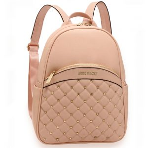 AG00590 - Pink Quilt & Stud Backpack School Bag
