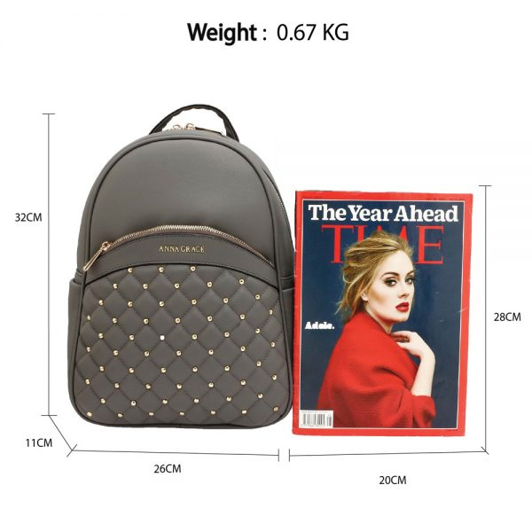 AG00590 - Grey Quilt & Stud Backpack School Bag
