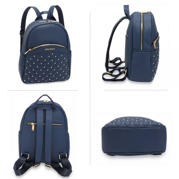 AG00590 - Navy Quilt & Stud Backpack School Bag