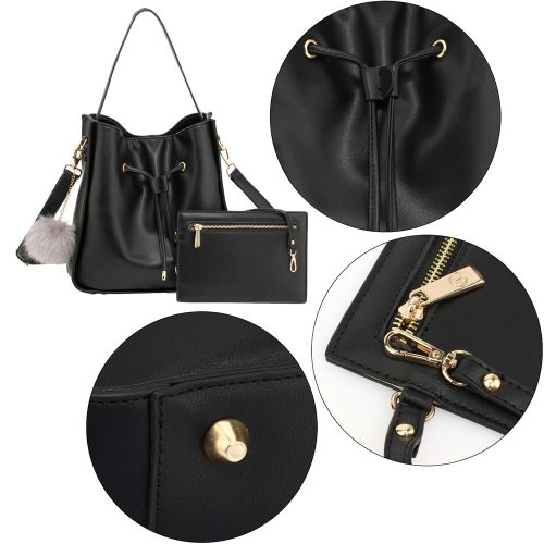 AG00591M - Black Drawstring Tote Bag With Pouch