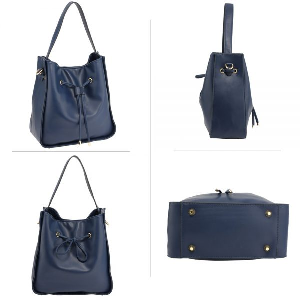 AG00591M - Navy Drawstring Tote Bag With Pouch