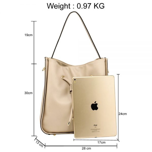 AG00591M - Nude Drawstring Tote Bag With Pouch