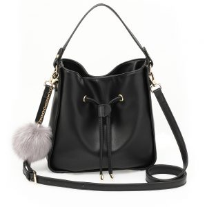 AG00591S - Black Drawstring Tote Bag With Faux-fur Bag Charm