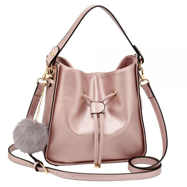 AG00591S - Champagne Drawstring Tote Bag With Faux-fur Bag Charm