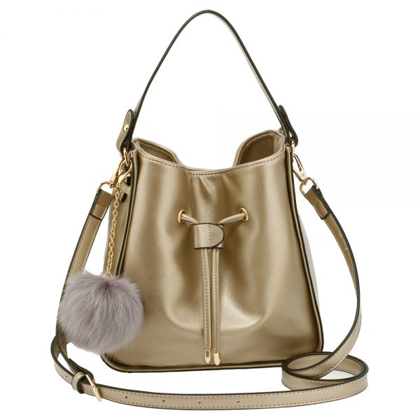 AG00591S - Gold Drawstring Tote Bag With Faux-fur Bag Charm