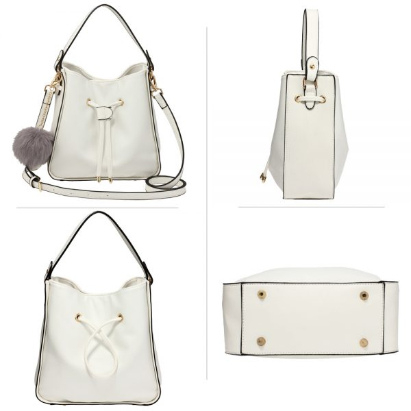 AG00591S - White Drawstring Tote Bag With Faux-fur Bag Charm