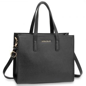 AG00592 - Black Anna Grace Fashion Tote Bag