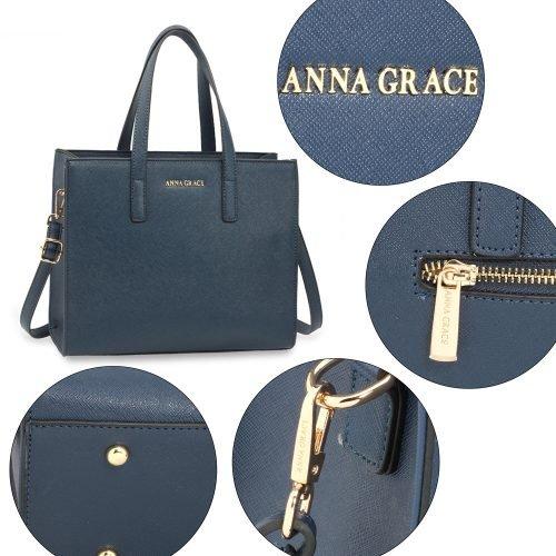 AG00592 - Navy Anna Grace Fashion Tote Bag