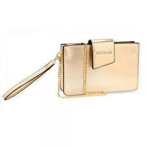 AG00593 - Gold Cross Body Shoulder Bag With Wristlet