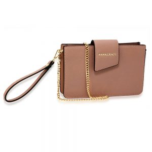 AG00593 - Nude Cross Body Shoulder Bag With Wristlet