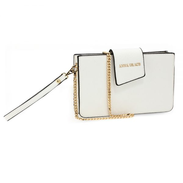 AG00593 - White Cross Body Shoulder Bag With Wristlet
