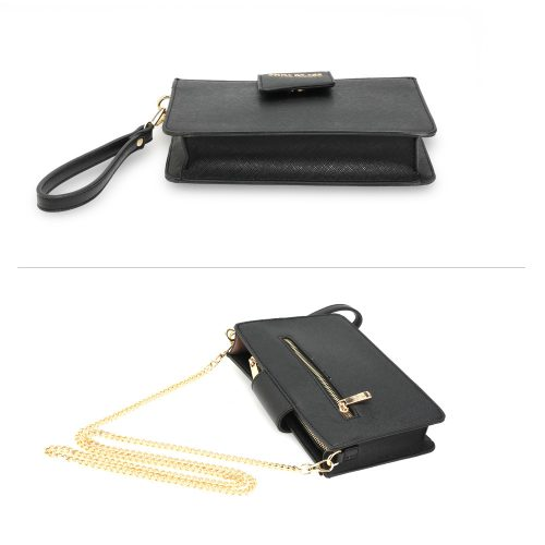 AG00593 - Black Cross Body Shoulder Bag With Wristlet