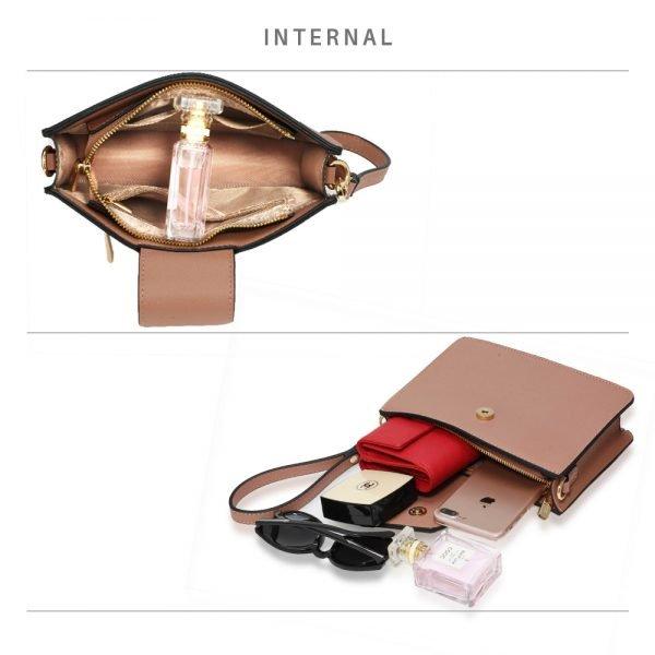 AG00593 - Nude Cross Body Shoulder Bag With Wristlet
