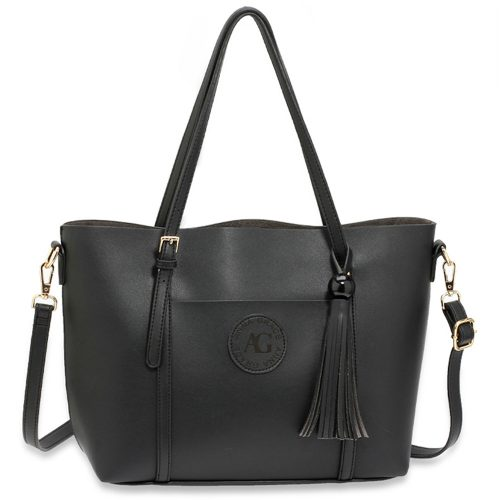 AG00595 - Black Anna Grace Fashion Tote Bag With Tassel