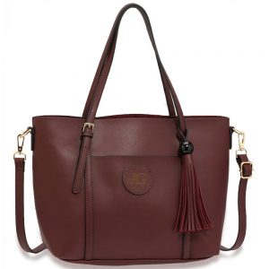 AG00595 - Burgundy Anna Grace Fashion Tote Bag With Tassel